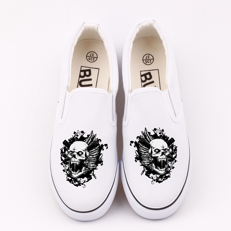 Fashion Skull Head Printed Women Vulcanized Canvas Shoes Slip On Low Top Loafers Custom Skeleton Punk Walking Shoes Espadrilles e lov women casual walking shoes graffiti aries horoscope canvas shoe low top flat oxford shoes for couples lovers