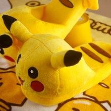 Winter Women Warm Cute Plush Indoor Floor Home Pokemon Slippers Pikachu Men Unisex House Antiskid Fluffy Slippers rihanna slides