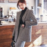 Office Uniform Style Womens Business Wear Skirt Suit Long Sleeve Blazer Knee Length Skirts Striped Two