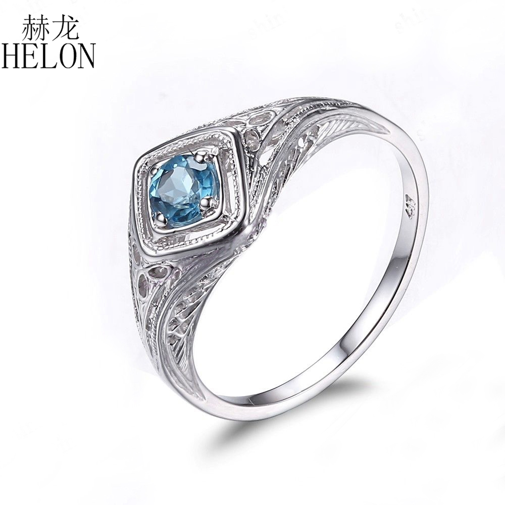 HELON Antique! Solid 10K White Gold Filigree Genuine Blue Topaz Solitaire Engagment Wedding Vintage Art Deco Fine Jewelry RingHELON Antique! Solid 10K White Gold Filigree Genuine Blue Topaz Solitaire Engagment Wedding Vintage Art Deco Fine Jewelry Ring