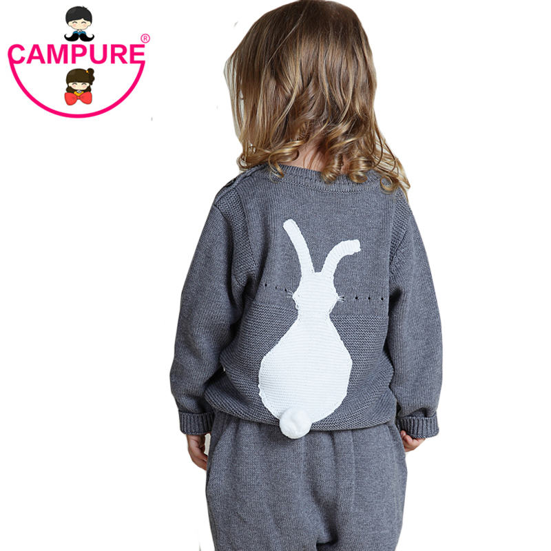 2017 Spring New Arrival Casual Knitted Cute Bunny Baby Girls Sweater 1-5Y Kids Rabbit Pattern Clothes Baby Sweater Girls Sweater