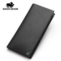 BISON DENIM luxury men wallets genuine leather long business casual men clutch purse zipper card holder phone wallet