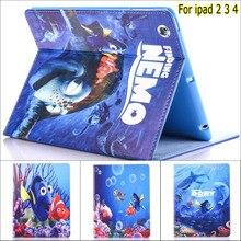 NEW Fashion Movie Cute cartoon Finding Nemo Clownfish pu leather stand holder case cover for iPad 2 3 4 недорго, оригинальная цена