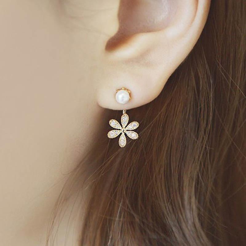 Mode Rose gold Siver Clip Ohrringe Braut Blumen Form Kristall Ohrringe für Frauen Strass Ohrclip Hochzeit Ohrring Schmuck