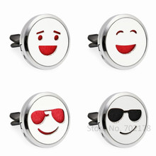 Expression series Smile face Car Air Freshener 30mm Essential Oil Perfume  Car Locket Diffuser vent clip a26a79030