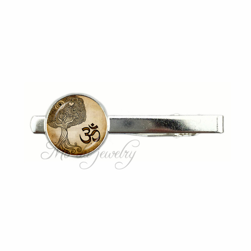Casual Yoga OM Pendant Tie clips Namaste Jewelry Ethnic MandalaTie clips Buddhism Zen Meditation India Jewellery