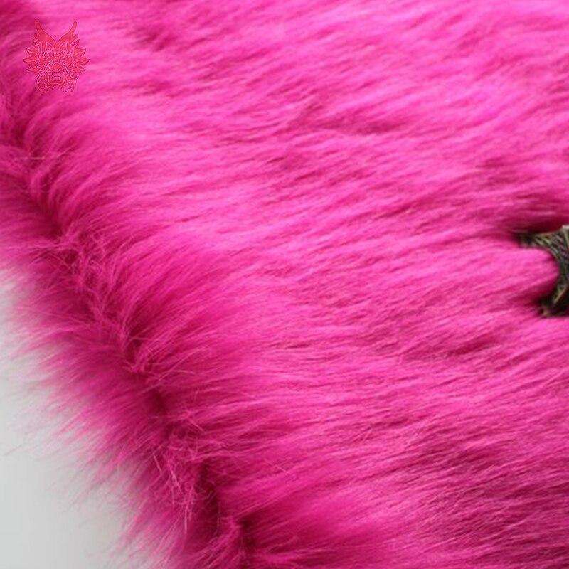 Material de la Tela Super Lujo Piel Sintética-Rosa Extra Largo
