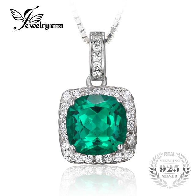 JewelryPalace Cushion 3.3ct Created Nano Russian Emerald Pendant 925 Sterling Silver Fashion Brand Fine Jewelry Without a Chain