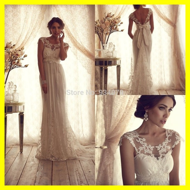 Ivory Lace Wedding Dress Simple Beach Dresses Casual Hippie ...