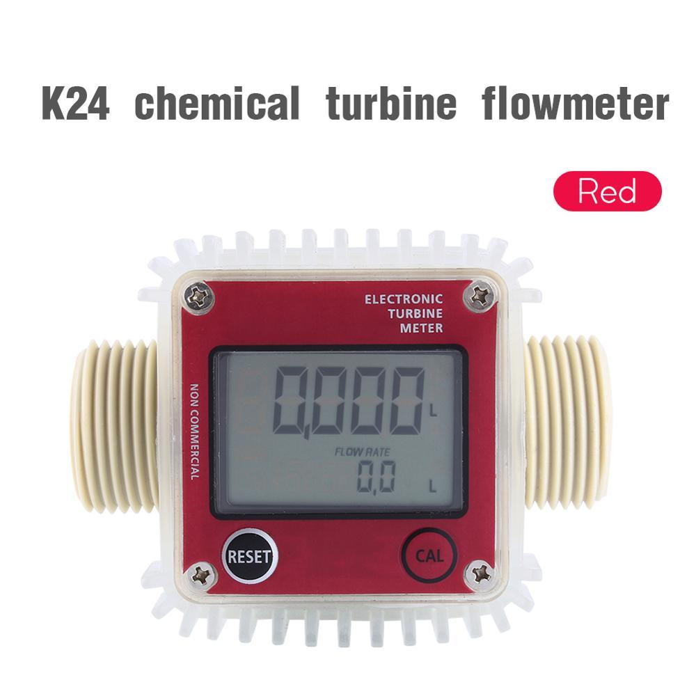 Image 2 - Digital LCD Fuel Flow Meter K24 Turbine Diesel Fuel Flow Meter for Chemicals Water Sea Adjust Liquid Flow Meters Measuring Tools-in Flow Meters from Tools