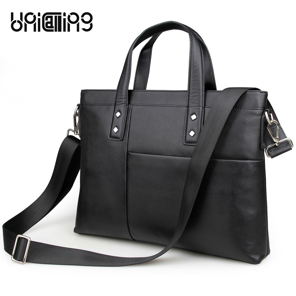 UniCalling brand fashion leather men handbag genuine leather men briefcase leather laptop messenger bag 15 inch notebook bag unicalling brand men genuine leather bag