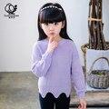 Los bebés de los suéteres 2016 otoño y camisa básica de invierno los niños femeninos laciness barrido suéter outerwears