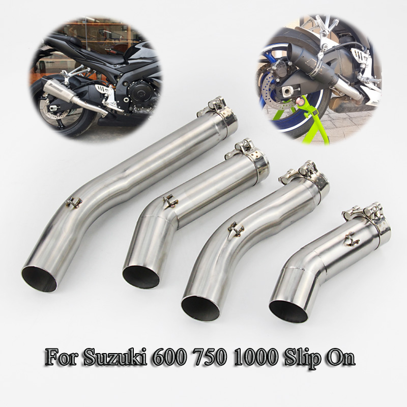 Slip On Motorcycle Muffler Exhaust Tip Stainless Steel Middle Pipe For 2005 2015 Suzuki GSXR 600 750 1000 Moto Modified