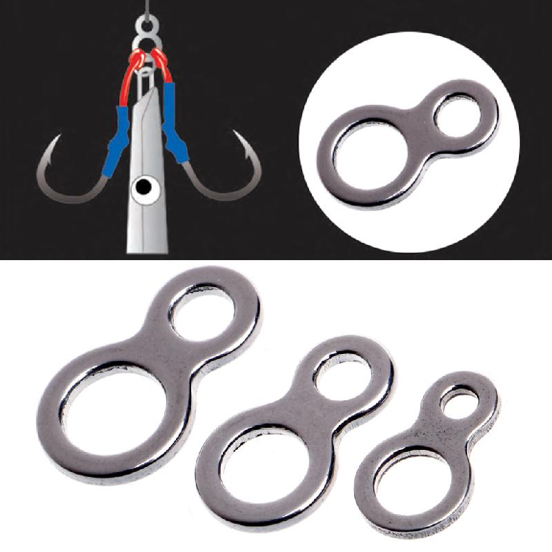 Newest 10Pcs Fishing Butterfly Jigging Stainless Steel Figure 8 Solid Ring Assist Hook