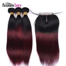 Fashion Lady Pre Gekleurde Ombre Braziliaanse Haar 3 Bundels Met Vetersluiting 1B/ 99J Straight Weave Human Hair bundel Pack Non Remy