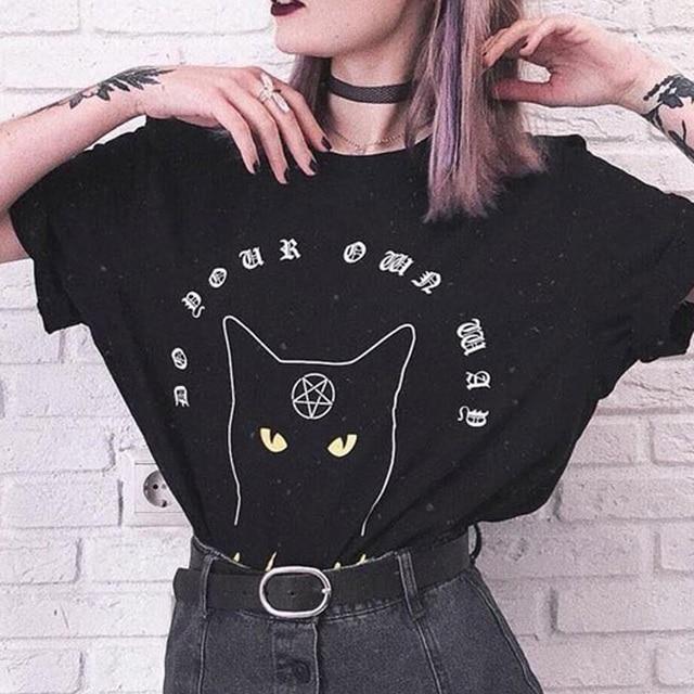 Letra Tumblr Símbolo Gato Chicas Verano Casual Camisetas Tops Mujeres Imprimir Gótico Pentagrama Camiseta Harajuku Patrón gYbf7yvI6