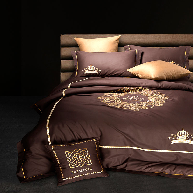 Brown Blue Coffee 100%Cotton Bedding set Queen King size Embroidery Bed set 4pcs Duvet cover Bedsheet set Pillowcases 36Brown Blue Coffee 100%Cotton Bedding set Queen King size Embroidery Bed set 4pcs Duvet cover Bedsheet set Pillowcases 36