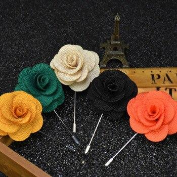 Mdiger mode broche fleur pour hommes costume Floral épinglette de multicouche à la main tissu broche mariage broche Bouquet pour hommes