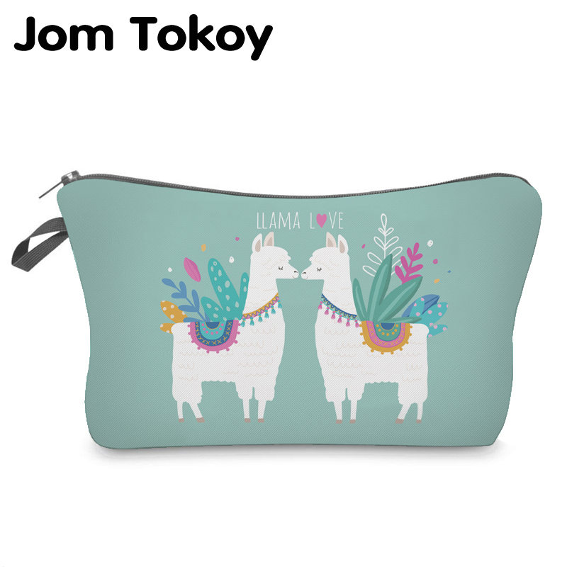 Jom Tokoy Water Resistant Cosmetic Organizer Bag Makeup Bag Printing Llama Cosmetic Bag Fashion Women Multifunction Beauty Bag
