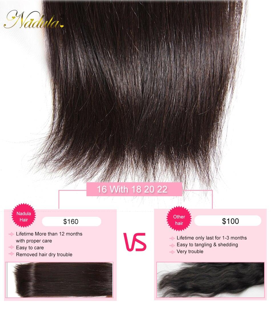 HTB157A2aUzrK1RjSspmq6AOdFXaF Nadula Hair 3 Bundles Brazilian Straight Hair With Closure 4*4 Lace Closure With Human Hair Weaves Straight Bundles With Closure