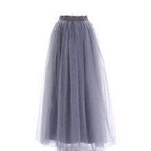Doragrace Womens Long Tulle Underskirts Grey Bridesmaid Dress Skirts Simple Elegant Petticoat For Prom Party Dresses