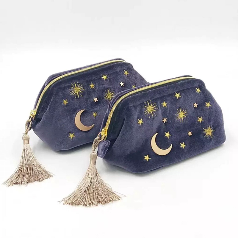 Cute Velvet Embroidery Cosmetic Bag Travel Organizer Women Makeup Bag Zipper Make Up Pouch With Moon Star Tassel Deco
