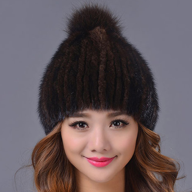 33.9 Real Mink Fur Hat and Beanie Cap with Fox Fur Pom Pom Ball Woolen Knitted Cap Had made Warm Winter Women Hats Beanies