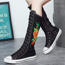 New national dance super high embroidery boots with zipper flat bottom shoes canvas