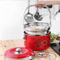 Stainless Steel Cooking Pot 7L Silver 7.8L Red/Yellow Pot Food Processor Cooking pot With 2 Pots