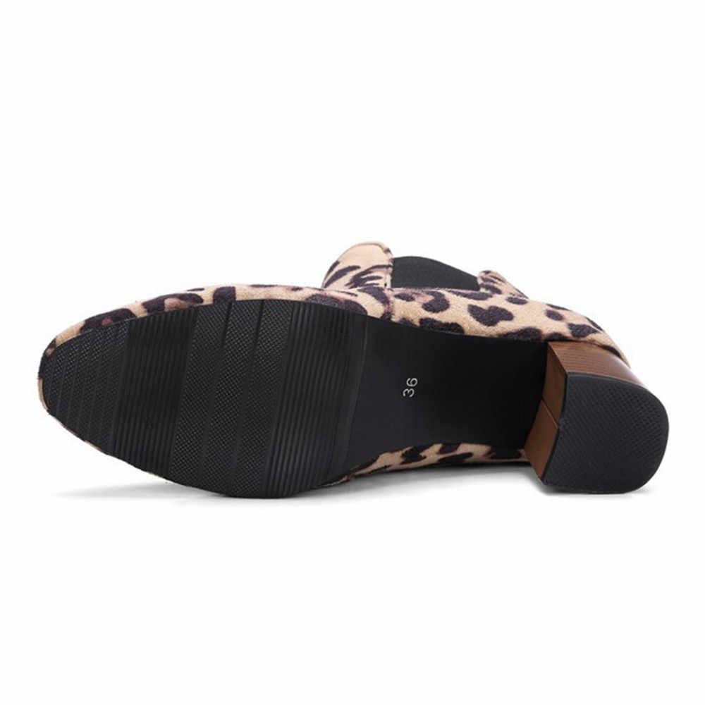 Женские Модные с леопардовым принтом для девочек; Короткие Плюшевые ботинки; женские ботильоны на высоком каблуке; # TX4