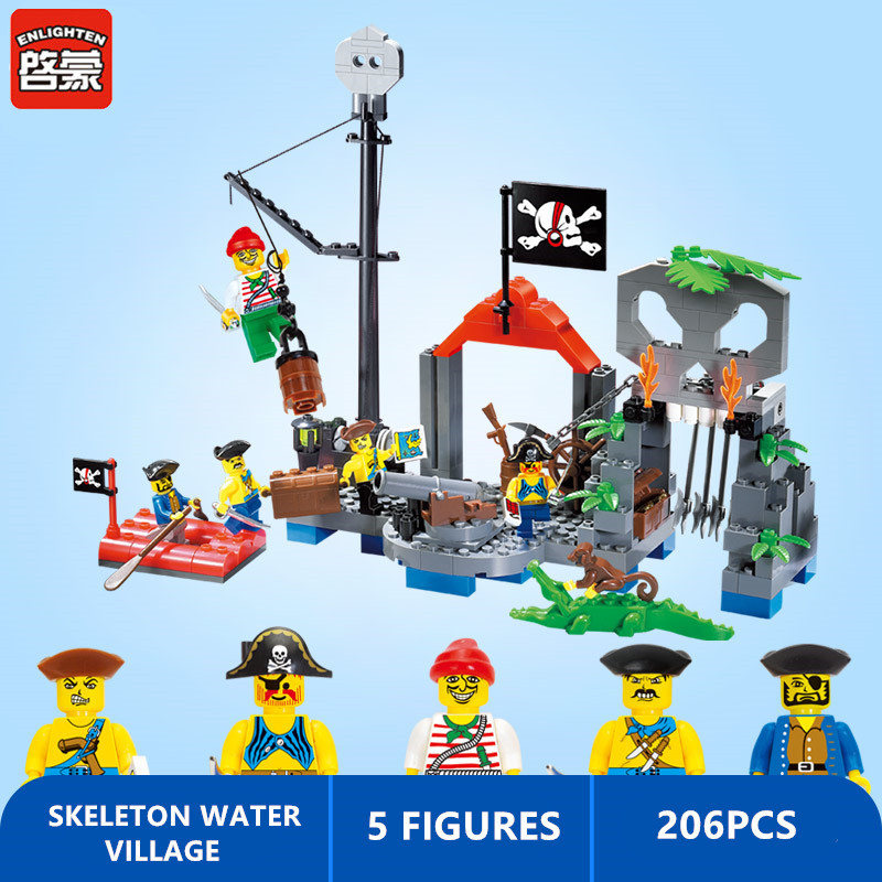 Enlighten 206pcs SKELETON WATER VILLAGE Building Blocks Pirates of the Caribbean Bricks DIY Creative Toys for Children
