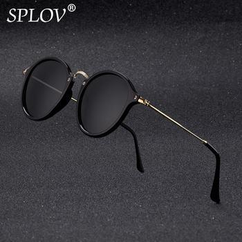 Nowy przyjazd okrągły okulary przeciwsłoneczne retro mężczyźni kobiety Brand Designer okulary Vintage lustrzane okulary tanie i dobre opinie Sunglasses W SPLOV UV400 lustro antyrefleksyjne polaryzowane Gradient 45mm Kot oko SP2030-1 48mm Plastikowe Dorosłych