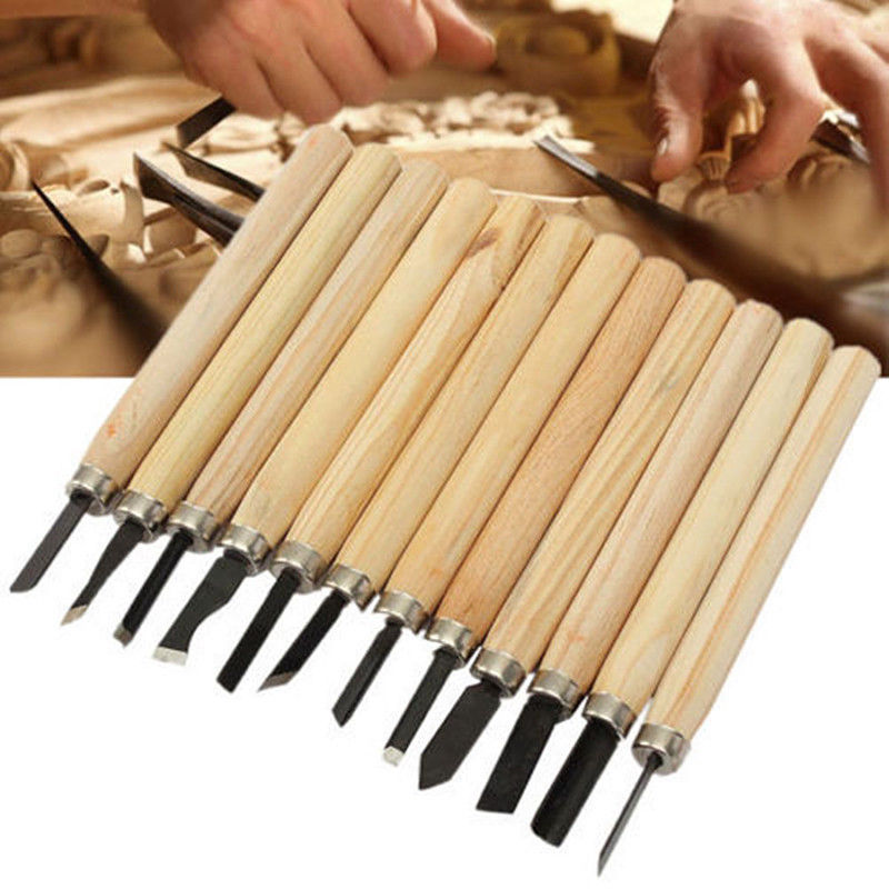 12Pcs Wood Carving Hand Chisel Knife Woodworkers For Woodcut Working Clay Wax Arts Craft Cutter Woodworking Hand Tools Set KY#