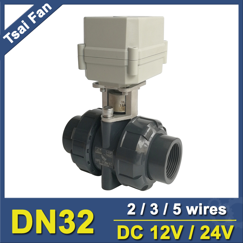 TF32-P2-C 2 Way DN32 PVC Electric Motorized Valve BSP/NPT 11/4'' DC12V 3 Wires 10NM Actuator Valve On/Off 15 Sec Metal Gear CE time electric valve ac110v 230 3 4 bsp npt for garden irrigation drain water air pump water automatic control systems