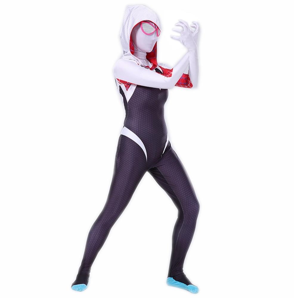 Gwen Stacy Cosplay Costume Spiderman Spider Hoodie Mask Zentai Into The Spider-Verse Adult Kids Bodysuit Skin Suit