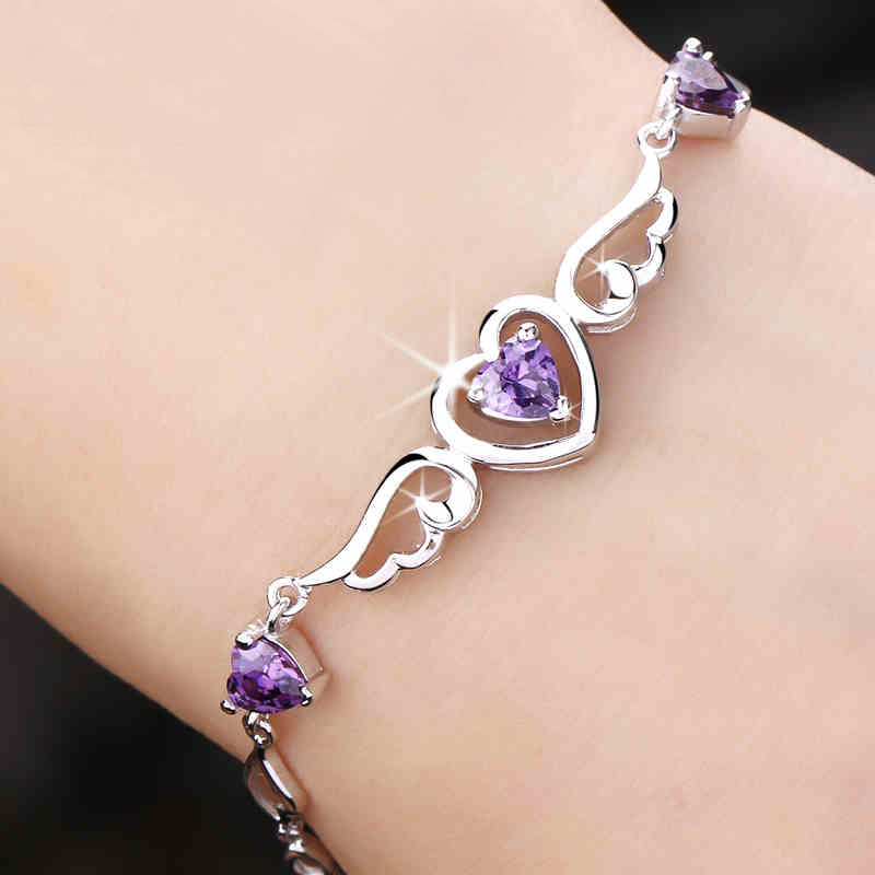 925 silver bracelet female silver jewelry heart fashion jewelry 925 silver bracelet female silver jewelry heart fashion jewelry lovers gifts girlfriend birthday gift in charm bracelets from jewelry accessories on negle Images