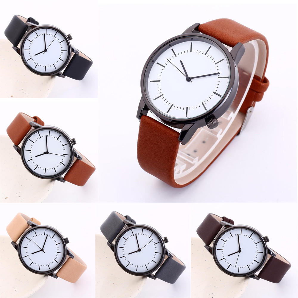 Quartz Wristwatch Dial Analog Men Women Couples Watches Business Simple Retro Leather Skin Strap Alloy Lovers Gift F423