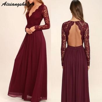 Burgundy Lace Bridesmaid Dress Long Sleeves Backless Wedding Party Gowns 2019 V Neck Bridal Dresses vestidos de fiesta de noche