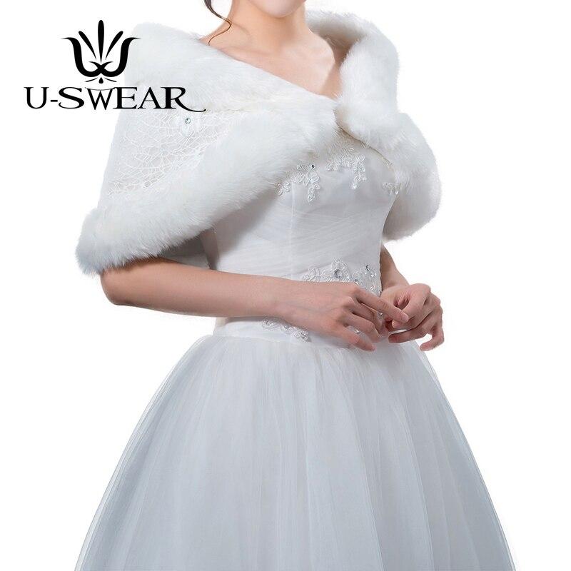 U-SWEAR 2018 nouveauté ivoire mariée boléro femmes mariage vestes ivoire Top fausse fourrure Cape robe de mariée veste pour mariage