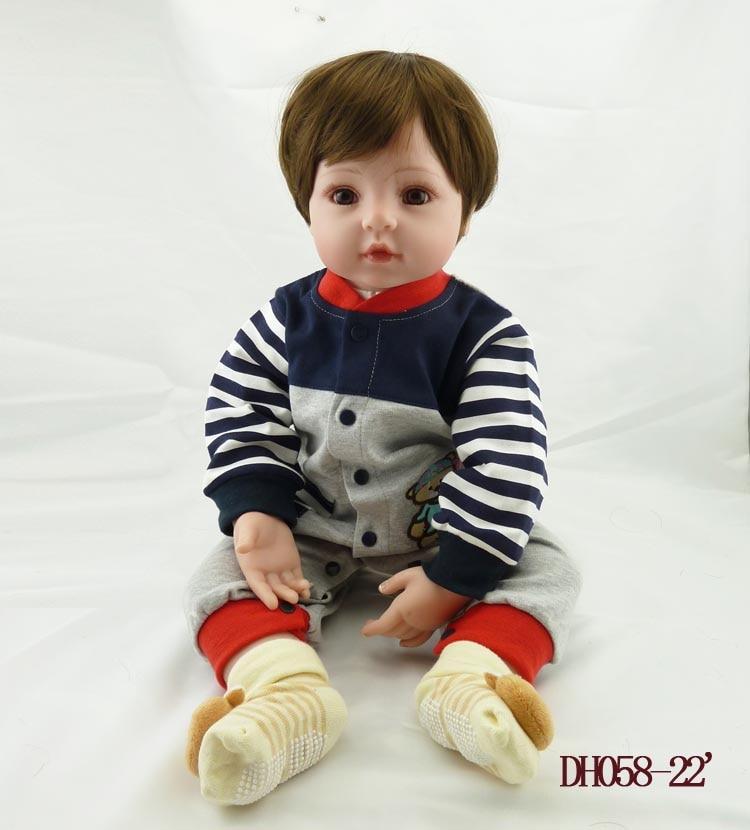 New 55cm handmade vinyl reborn baby dolls toddler silicone simulated doll accompany newborn brinquedos christmas new year gifts 22 inch 55cm reborn baby silicone vinyl dolls handmade realistic lovely baby brinquedos accompany sleeping toys novelty gifts