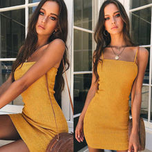 Sexy Bodycon Summer Dress 2019 Strapless Spaghetti Strap Bandage Mini Yellow Backless Skinny Party Dresses