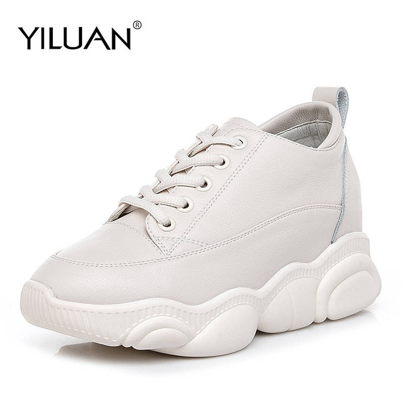 Yiluan 2019 spring new thick soled leather white shoes increase casual shoes women student shoes wild
