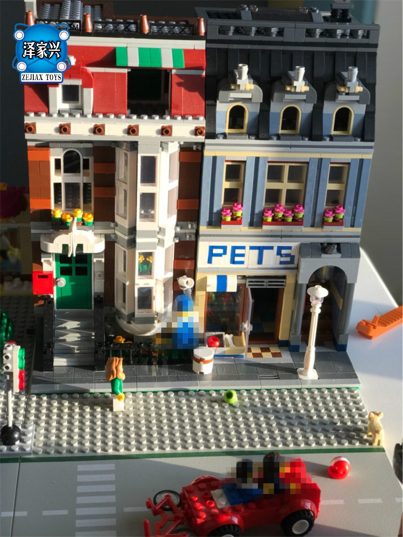 City Street Pet Shop Model Building Kid Blocks Bricks Assembling Toys Compatible Lepins Educational Toy Funny Gift