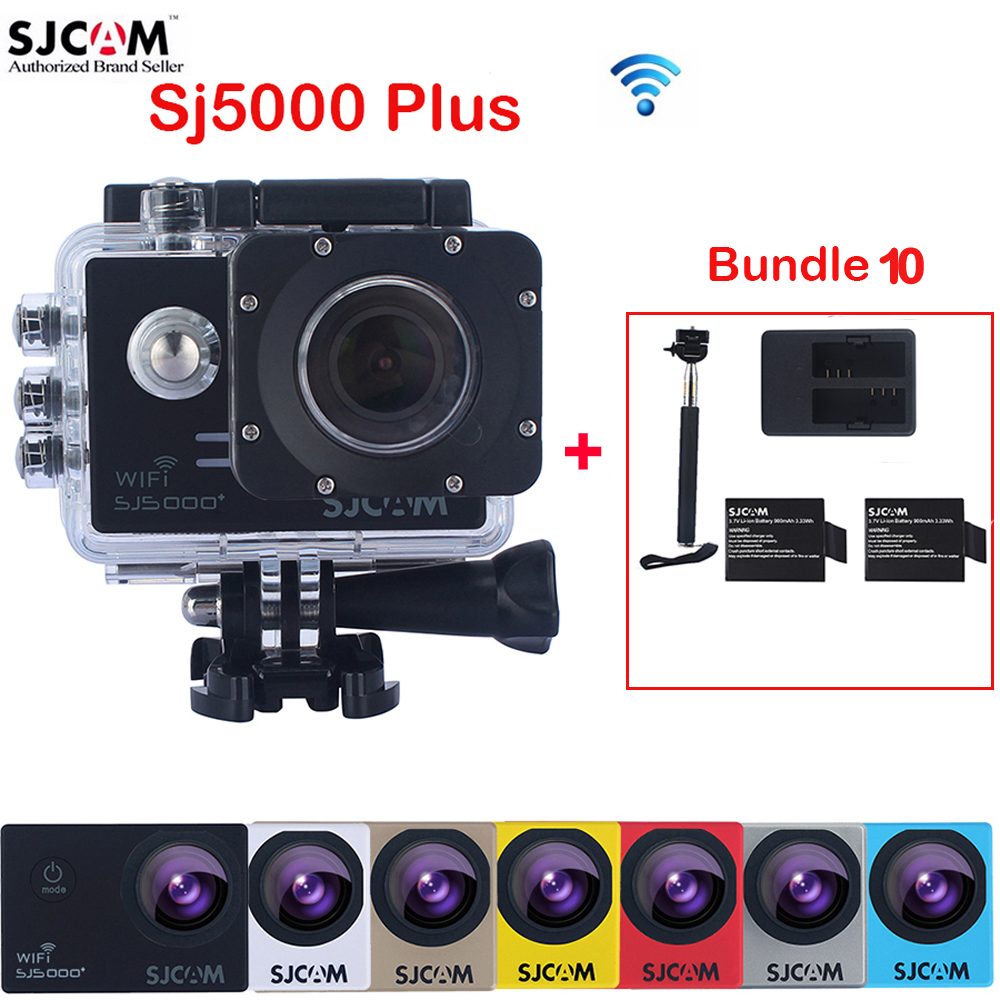 Original SJCAM SJ5000 Plus WiFi Waterproof Sports Action Camera Sj 5000 Plus Cam DV With Extra 2 Battery+ Dual Charger+Monopod original sjcam m20 wifi 4k 24fps 30m waterproof sports action camera sj cam dvr 2 extra battery dual charger remote monopod