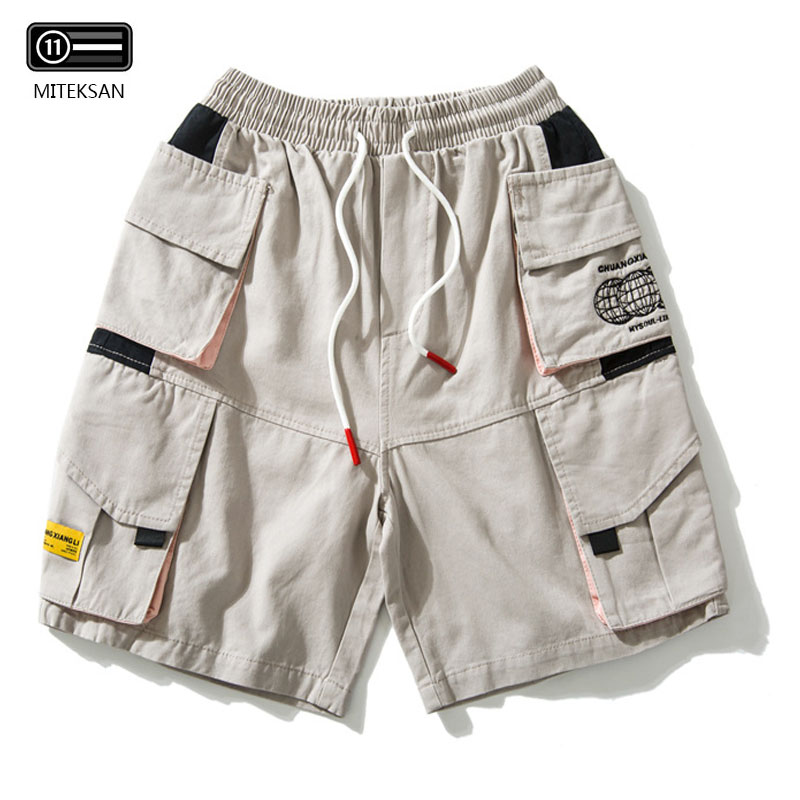 Hip Hop Cargo Shorts multi-poches couleur Harajuku Joggers court Baggy Sweat Shorts coton été homme décontracté Safari Shorts