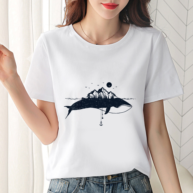 2019 New Summer T-shirt Dolphin Print Universe Faith Harajuku T Shirt Women Tshirt O-neck Short Sleeve White Tops Female Clothes