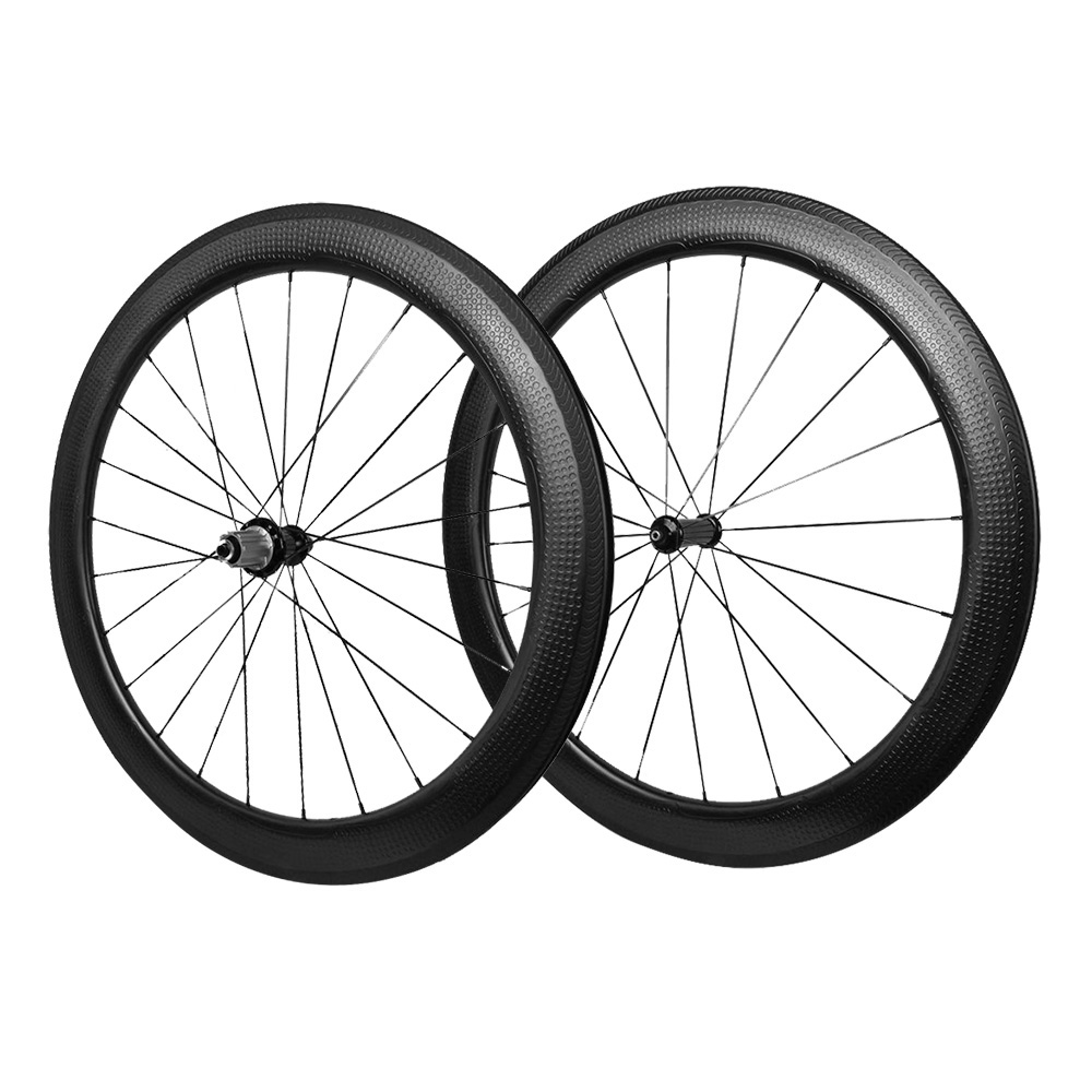 2017Golf surface carbon wheels 58mm depth 25mm width rims Dimple surface carbon clincher wheelset power way R36 hubs black 1650g