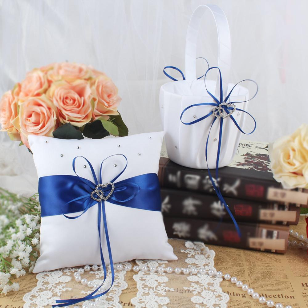 OurWarm Wedding Flower Basket Heart Cushion Ring Pillow Guest Book Signature For Guest Holy Communion Baptism Wedding Decoration
