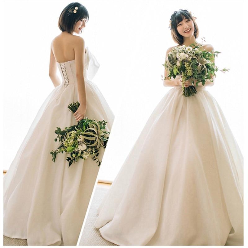 2019 Wedding Dress With Bow Real Photo Romantic Weddingdress Satin Vestido De Noiva Gown Back Lace Up Formal Dress Bridal Dress