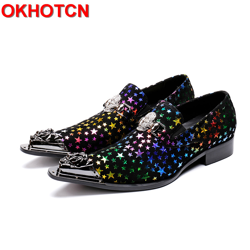 все цены на Colorful Stars Print Cow Leather Shoes Men Metal Skull Hoop Dress Shoes Men Pointed Toe Zapatos de Hombre Plus Size Formal Shoes